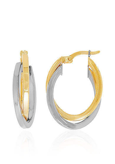 Belk & Co. Polished Overlapping Hoop Earrings in 10k Two-Toned Gold