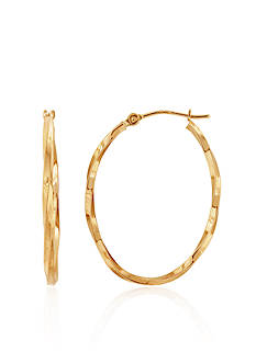 Belk & Co. Oval Twist Hoop Earrings in 14k Yellow Gold