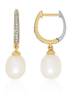 Belk & Co. Freshwater Pearl and Diamond Oval Hoop Earrings in 14k Yellow Gold