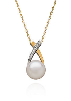 Belk & Co. Freshwater Pearl & Diamond Pendant in Sterling Silver