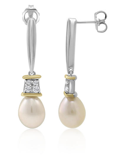 Belk & Co. Freshwater Pearl & White Topaz Drop Earrings in Sterling Silver and 14K Yellow Gold