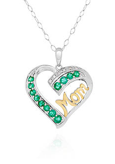 Belk & Co. Created Emerald and Diamond Heart Mom Pendant Necklace in Sterling Silver