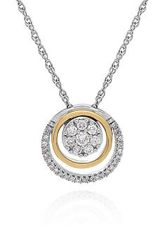 Belk & Co. 0.25 ct. t.w. Diamond Circle Pendant in Sterling Silver with 14k Yellow Gold