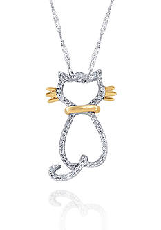 Belk & Co. Diamond Cat Pendant in Sterling Silver and 14k Yellow Gold