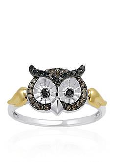 Belk & Co. 1/6 ct. t.w. Diamond Owl Ring in Sterling Silver & 14K Yellow Gold