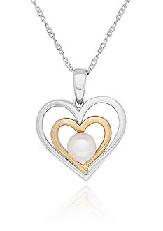Belk & Co. Freshwater Pearl Double Heart Pendant in Sterling Silver and 14k Yellow Gold
