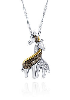Belk & Co. 0.16 ct. t.w. Diamond Giraffe Pendant in Sterling Silver and 10k Yellow Gold