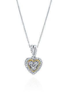 Belk & Co. 1/10 ct. t.w. Diamond Heart Pendant in Sterling Silver with 10k Yellow Gold Accent
