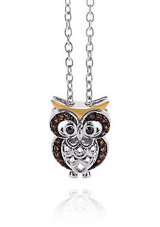 Belk & Co. 0.11 ct. t.w. Diamond Owl Necklace in Sterling Silver & 10K Gold
