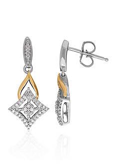 Belk & Co. Diamond Earrings in Sterling Silver and 10k Yellow Gold