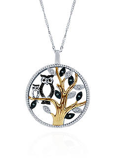 Belk & Co. .072 ct. t.w. Diamond Tree Owl Pendant in Sterling Silver