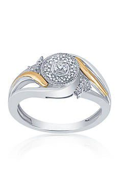 Belk & Co. .104 ct. t.w. Diamond Ring in Sterling Silver and 10k Yellow Gold