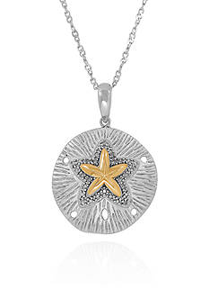 Belk & Co. 1/10 ct. t.w. Diamond Sand Dollar Pendant in Sterling Silver and 10k Yellow Gold