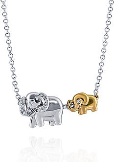 Belk & Co. 0.10 ct. t.w. Diamond Elephants Pendant Necklace in Sterling Silver and 10k Yellow Gold