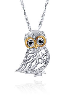 Belk & Co. 0.11 ct. t.w. Diamond Owl Pendant in Sterling Silver with 10K Yellow Gold