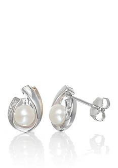 Belk & Co. Pearl and Diamond Earrings in Sterling Silver and 14K Yellow Gold