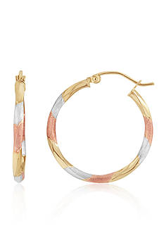 Belk & Co. Twist Hoop Earrings in 14K Tri-Color Gold