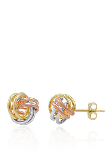 Belk & Co. Stud Knot Earrings in 14K Yellow Gold, White Gold, and Rose Gold