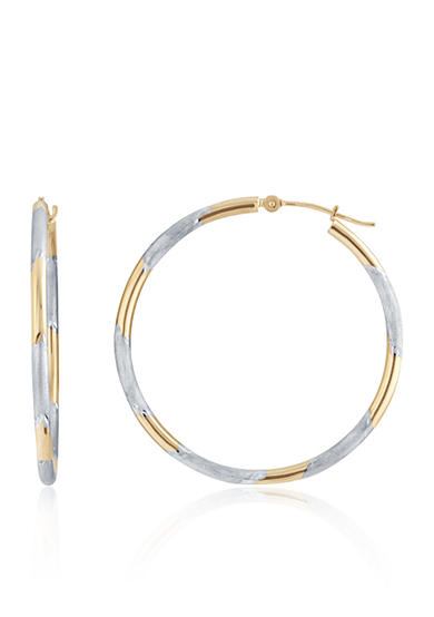 Belk & Co. Hoop Earrings in 14K Two-Tone Gold