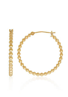 Belk & Co. Bead Hoop Earrings in 14K Yellow Gold