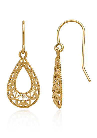 Belk & Co. Teardrop Dangle Earrings in 14K Yellow Gold