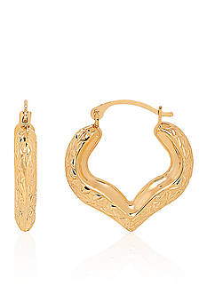 Belk & Co. Heart Hoop Earrings in 14k Yellow Gold
