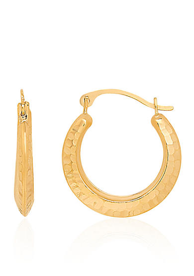 Belk & Co. Hammered Round Hoop Earrings in 14k Yellow Gold
