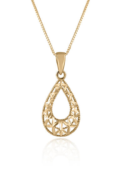 Belk & Co. Teardrop Pendant in 14K Yellow Gold
