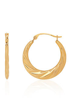 Belk & Co. Swirl Hoop Earrings in 14k Yellow Gold