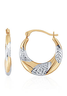 Belk & Co. 14k Yellow Gold Textured Hoop Earrings