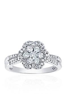 Belk & Co. 5/8 ct. t.w. Diamond Cluster Flower Ring in 10k White Gold