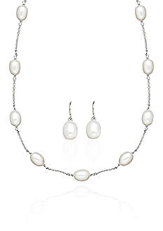 Belk & Co. Freshwater Pearl Tin Cup Necklace and Earrings in Sterling Silver Set