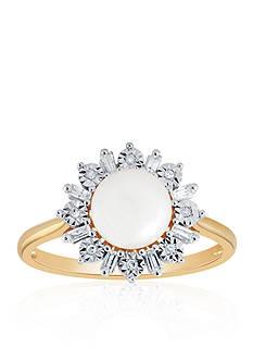 Belk & Co. Freshwater Pearl & Diamond Ring in 14K Yellow Gold