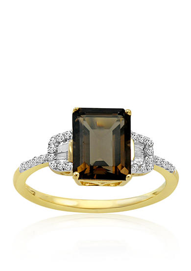 Belk co smokey quartz and diamond ring in 14k yellow for Belk fine jewelry rings
