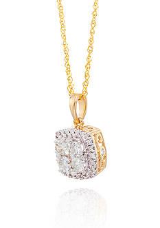 Belk & Co. Diamond Square Cluster Pendant in 14K Yellow Gold