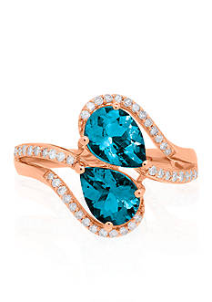 Belk & Co. London Blue Topaz Ring in 10k Rose Gold
