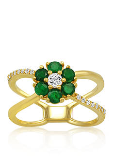 Belk & Co. White Sapphire & Emerald Flower Ring in 10K Yellow Gold