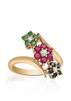 Belk & Co. White Sapphire & Tri-Colored Flower Ring in 10K Gold