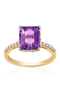 Belk & Co. Amethyst and Diamond Ring in 10k Yellow Gold