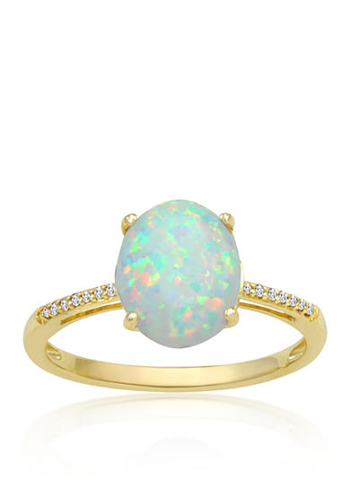 Belk & Co. Opal & Diamond Ring in 10K Yellow Gold