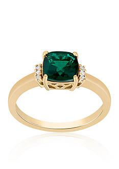 Belk & Co. Created Emerald & Diamond Ring in 10K Yellow Gold