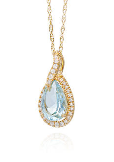 Belk & Co. Aquamarine and Diamond Pendant in 10K Yellow Gold