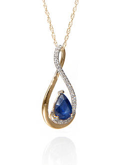 Belk & Co. Sapphire and Diamond Pendant in 10K Yellow Gold