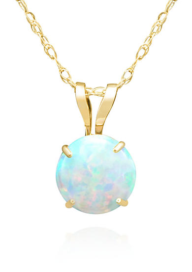 Belk & Co. Opal Solitaire Pendant Necklace in 14K Yellow Gold