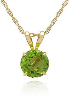 Belk & Co. Peridot Pendant Necklace in 10K Yellow Gold