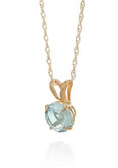 Belk & Co. Aquamarine Pendant Necklace in 10k Yellow Gold