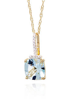 Belk & Co. Aquamarine and Diamond Cushion Pendant in 10k Yellow Gold