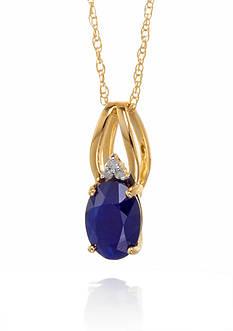 Belk & Co. Sapphire & Oval Diamond Pendant in 10K Yellow Gold