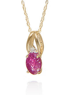 Belk & Co. Oval Ruby and Diamond Pendant in 10K Yellow Gold