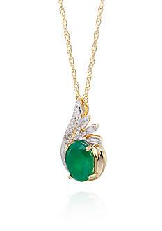 Belk & Co. Emerald & Oval Cut Diamond Pendant in 10K Yellow Gold